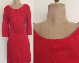 1960's Red Floral Brocade Wiggle Dress Size Small Medium by Maeberry Vintage