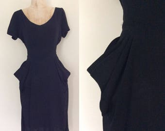 "1950's Black Crepe Rayon Dress w/ Draped Side Pockets Size Large 30"" Waist by Maeberry Vintage"