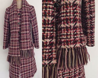 1960's Pink Textured Tweed Fitted Coat w/ Attached Scarf Size Small by Maeberry Vintage
