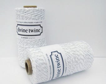 VACATION SALE Silver MetallicTwine, Silver Divine Twine- full spool, 240 yards, silver and white, cotton string, bakers twine,  packaging su
