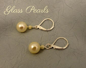 Cream Colored Glass Pearl Drop Earrings