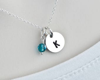 Initial Necklace,Birthstone Monogram Initial Silver Disc Necklace,Up to 5 Disc Charm Silver,Personalized Jewelry,Mom Sister Best Friend Gift
