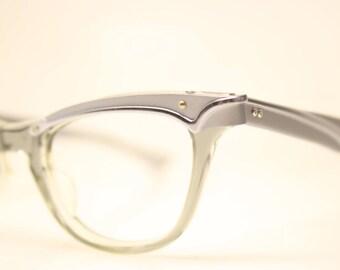 Unused Vintage Cat eye glasses Gray Combination cat eye frames NOS