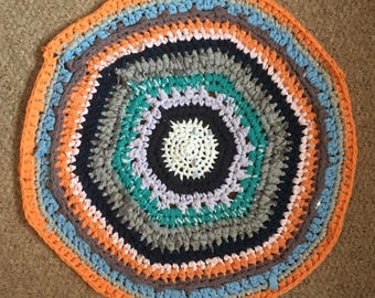 100% recycled crocheted rug