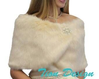 Valentine's Day Bridal shrug, Champagne #1 Faux Fur Wrap, Faux Fur Stole, Faux fur shrug, wedding fur shawl, faux fur ...