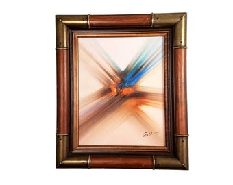 Vintage Abstract Oil Painting by Guez