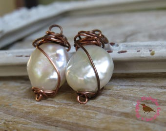 White Coin Pearl Earrings, Copper, White Coin Pearl Wire Wrap Earrings, Long Boho Coin Pearl Kidney Earrings, by MagpieMadness for Etsy