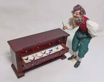 Dolls House Miniature Bespaq 4 drawer Wooden Museum / Collector's Darwinian filled unit / sideboard / chest.