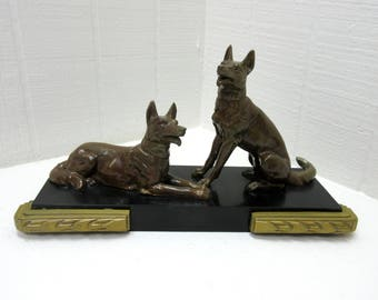 Vintage Pair Of Dogs Brown Color Metal Art Deco Original