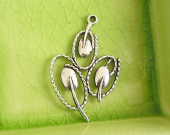 10 silver abstract flower tulips charms pendants tulip flowers flowering branches plant mother nature 40mm x 26mm - C0710-10