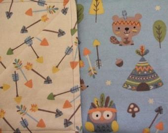 Woodland owls,squirrels,deer, arrows,tribal double flannel cotton print infant,baby,toddler blanket,swaddle,crib, car seat,stroller blanket.