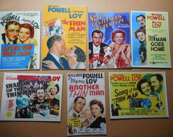 Magnets- The Thin Man movies set of 7 movie magnets William Powell Myrna Loy 1930's-1940's