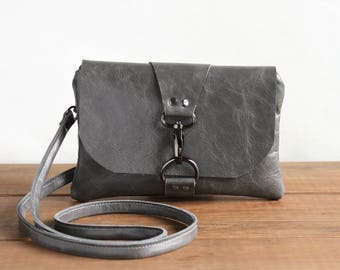 Gray Leather Messenger Bag, Mini Cross Body Bags for Women Crossbody Bag Leather Crossbody Purse Back to School Messenger Purse Gift for Her