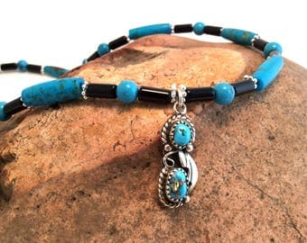 Sterling Silver Southwestern Necklace with Turquoise and Onyx
