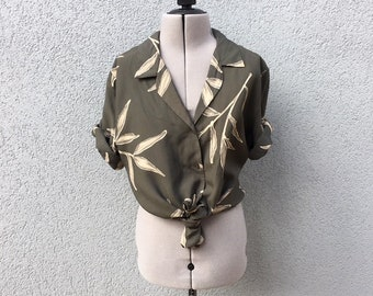 Vintage 90s Green Watercolor Leaf Print Blouse, 90s Women's Clothing, 90s Shirt, 90s Grunge, 90s Button Up, Size S