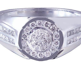 10k white gold round cut diamond mens band ring Wedding, Bridal, Anniversary, Prong, Natural Diamonds 0.50ctw