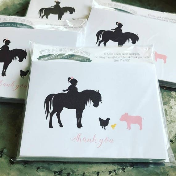 Pony Thank you Note Cards - pack of 10  Farm party Pony Party Thank you cards Horse Stationary Pony Birthday Petting Zoo Farm Birthday Girl
