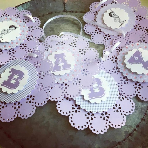 Lavender Lace Vintage Girl Baby Shower Banner