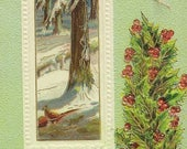 Embossed Antique Christmas Postcard Pheasants in the Winter Woods Festive Holly and Golden Bells Accent 1912 Samson Bros Publishing