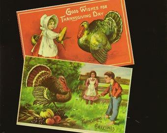 Pair 1990 Vintage Reproduction Postcards Antique Thanksgiving Postcards – Merrimack Publishing  Children With Turkeys