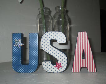 Mini USA in paper mache letters - July 4th Decoration - Fourth of July Decor - USA