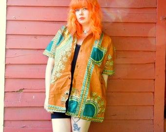 Vintage Brown African Batik Dashiki Button Up Ethnic Hippie Boho Short Sleeve Summer Shirt XXL 50