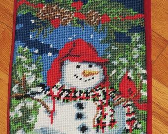 Needlepoint Christmas Stocking SNOWMAN Motif, Monogramed KATE