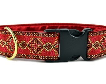 "Ready-to-Ship: Red Nobility Jacquard - 1.5"" Buckle Collar - LARGE - Brass Hardware"