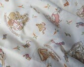 Beatrix Potter Fabric Yardage Frederick Warne and Co. 1982 Muted Soft Colors Peter Rabbit Benjamin Bunny Mrs. Rabbit and Gang