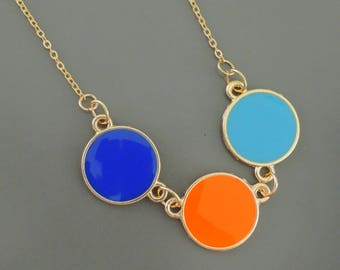 Statement Necklace - Gold Necklace - Enamel Necklace - Colorful Necklace - Dot Necklace - Circle Necklace - handmade jewelry