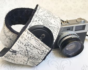 DSLR Minky Camera Strap, Padded with Lens Cap Pocket, Nikon, Canon, DSLR Photography, Photographer Gift, Wedding - Maps with Black Minky