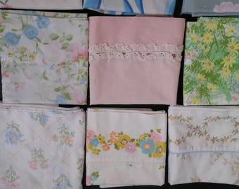 Vintage Cotton Pillow Cases Vintage Bedding Standard Size Lot/group of 18 Variety of colors & styles Good for bedding or craft DIY