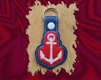 Red and Blue Anchor Key Fob, Key Chain, Luggage Tag, Bag Clip, Vinyl, Key Ring, Back Pack Pull, Purse Charm