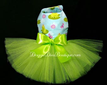 Dog Dress - Dog Tutu Dress - Frog Dog Tutu - XXS, XS, Small or Medium