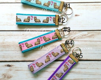 Yorkie Key Fob, Keychain, Wristlet, your choice of colors Purple, Turquoise, White, Blue, Pink