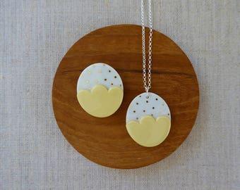 Small Gold Dot Egg Pendant 60cm