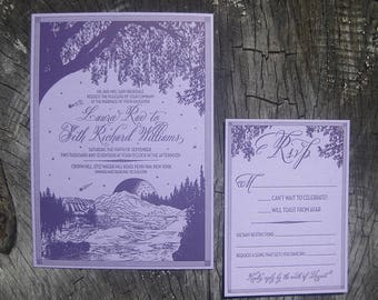 Autumn Vineyards in the Mountains (violet) Custom Letterpress Wedding Invitation Suite