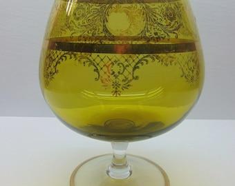 Vintage Green Glass Pedestal Bowl