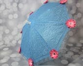 Flower Girl Blue Lace Sun Umbrella with Pink Flowers, Child's Parasol, Young Girls Tea Party Sun Shade Parasol, Photo Prop,17066