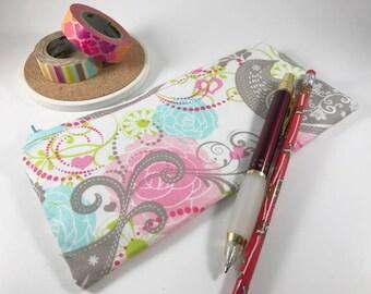Floral Pencil Case, Pencil Pouch, Journal Accessory Bag, Flower Zippered Pouch