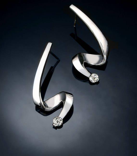 Argentium silver earrings, CZ earrings, eco friendly, posts, dangle earrings, wedding earrings, modern jewelry, for her - 2380