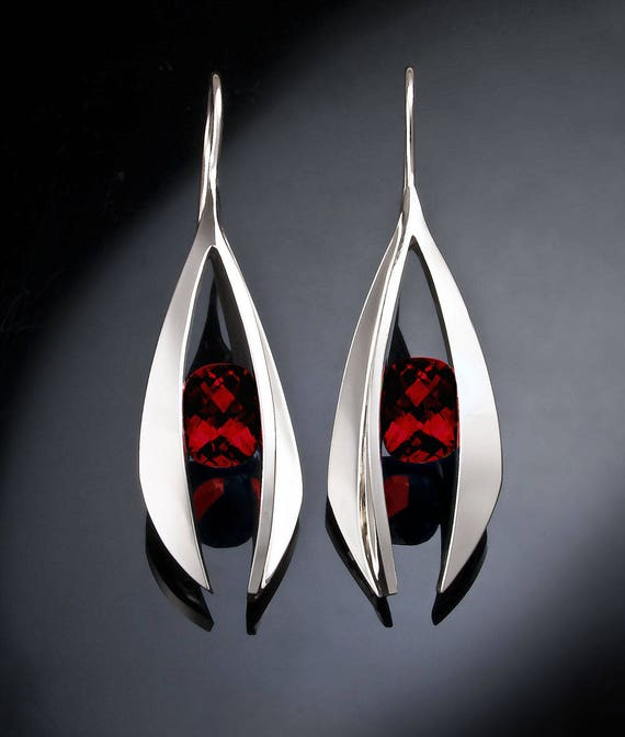 garnet earrings, statement earrings, January birthstone, Mozambique garnet, dangle earrings, Argentium silver, fine jewelry, red gems - 2495