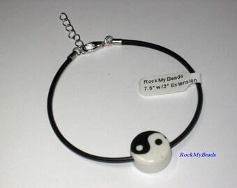Yin Yang Black Leather Bracelet,Bracelet,Jewelry,Leather Bracelet,Black Bracelet,Friendship Bracelet,Masculine Bracelet,Thin Bracelet