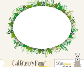 Greenery Frame Clipart, Oval Foliage Clip Art for Invitations, Rustic Lush Greenery Wedding, Ferns, Plants, Eucalyptus Leaves Graphics, PNG