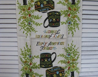 linen dish towel tea towel early american toleware vintage  28 in. long 15 1/2 in. wide never used