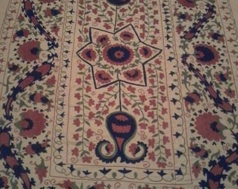 Uzbek hand embroidered suzani. Wall hanging, bed cover table cover suzani