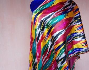 Uzbek vintage pure silk ikat fabric 425cm. Han atlas, tribal ethnic fabric. VMI018