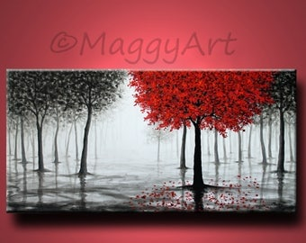 large original textured painting,wall art,red tree,rain,misty forest,black white and red,48x24inch stretched canvas,office home decor