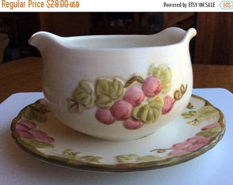 ANNIVERSARY SALE Vintage Pink Poppytrail by Metlox Gravy Boat with attached Underplate - Made in California