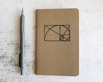 The Golden Ratio Notebook - Math and Geometry Field Journal - Geometric Minimal Kraft Pocket Sketchbook